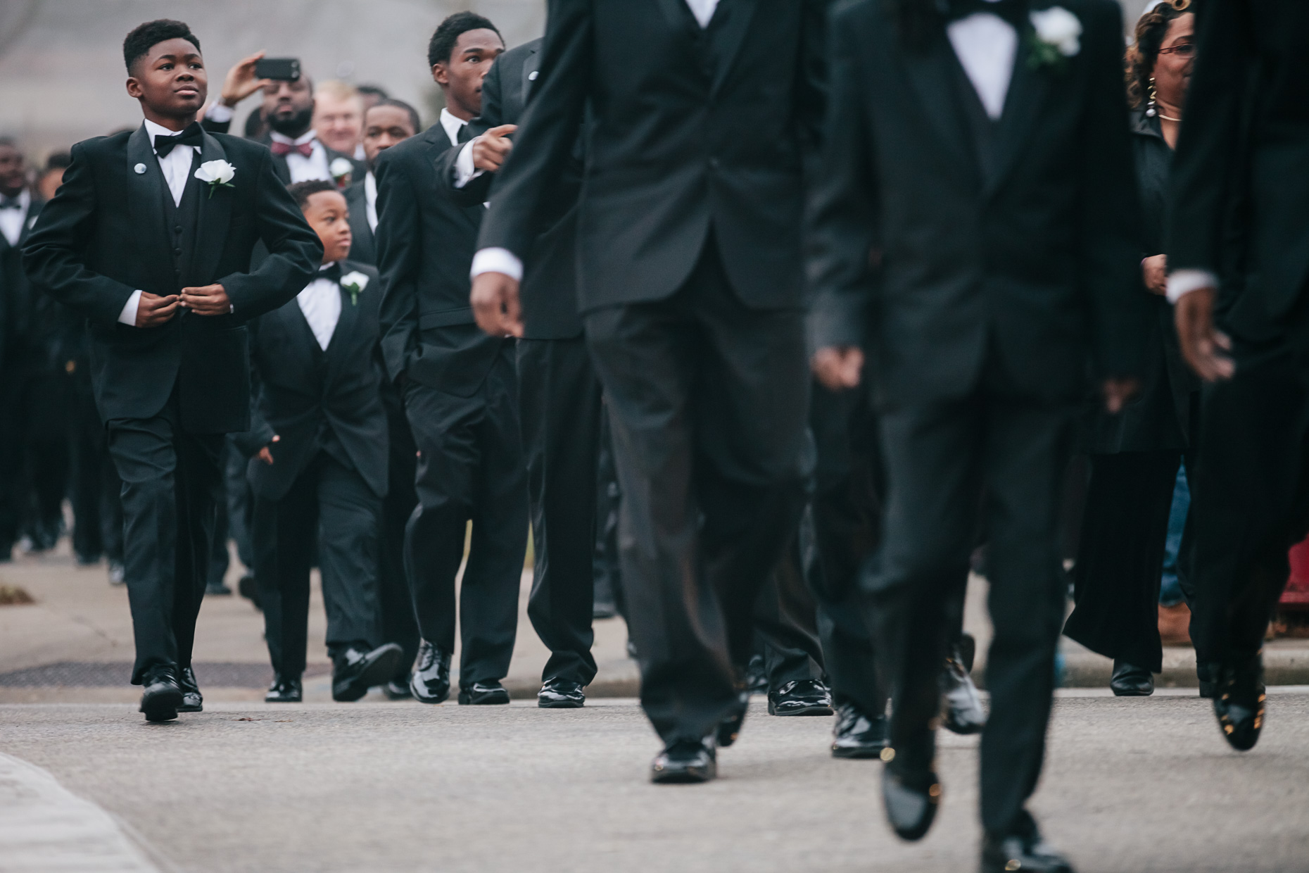 Treshon Lewis, 14, proudly wears his tuxedo at the 500 Black Tuxedos Event , organized by Andre Lee Ellis on Saturday December 12th, 2015 in Milwaukee, Wisconsin.