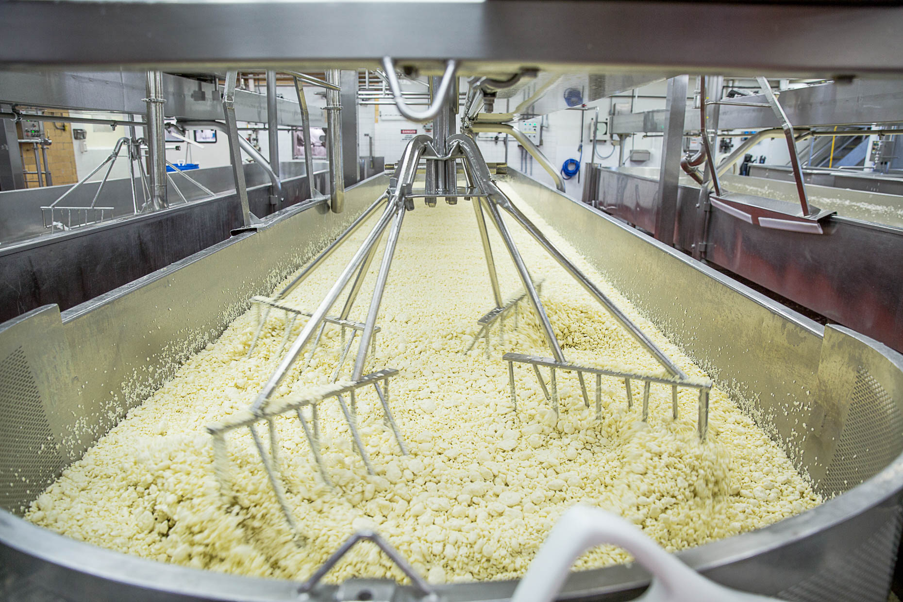 A machine at the Sartori Cheese Factory seperates the curds during the cheese making process on Monday July 2nd, 2018.