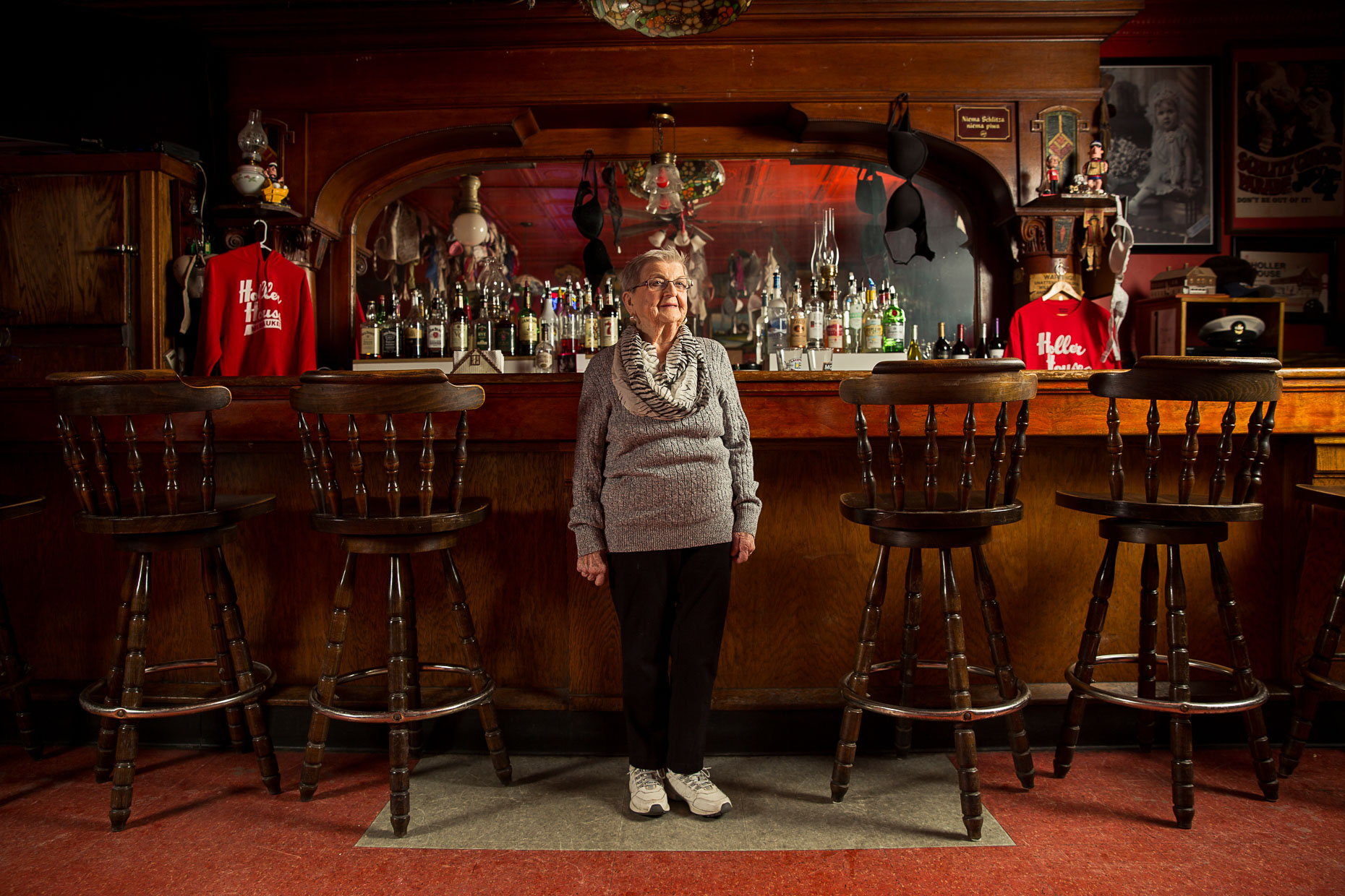 Marcy Skowronski, owner of The Holler House on the South side of Milwaukee Wisconsin, a tavern that houses the oldest sanctioned bowling alley in the United States.