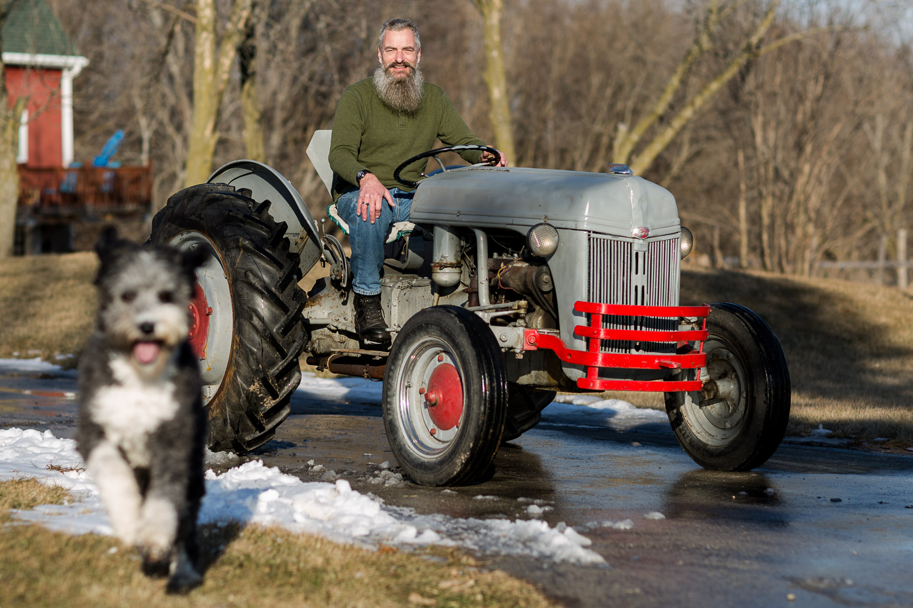 Peter Langhammer, IT director at Usingers Sausage, photographed at his home/hobby farm in Muskego, Wisconsin on January 20th, 2018.