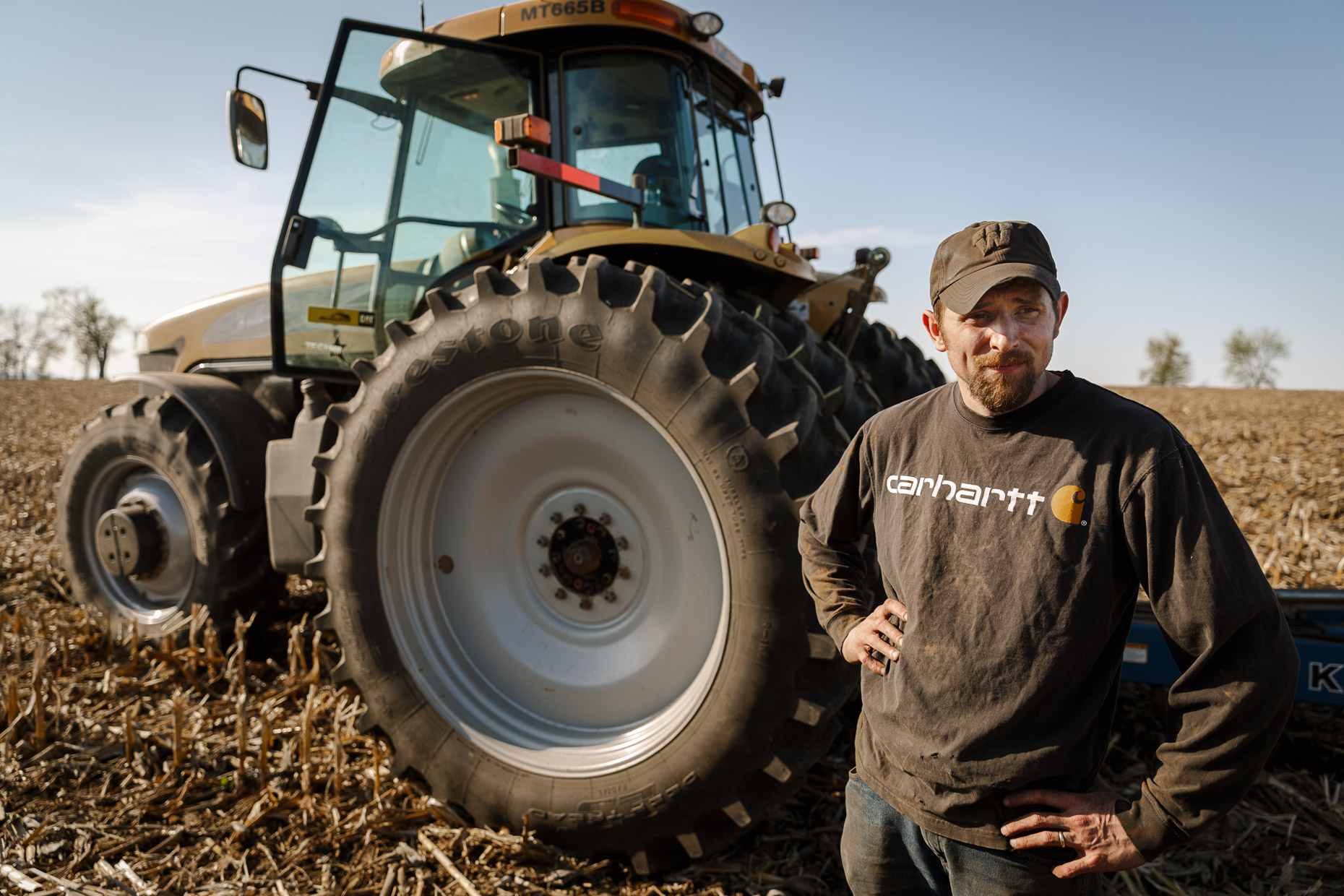 Joe Woodman takes a break from planting soybeans on the family farm in Janesville, Wisconsin.